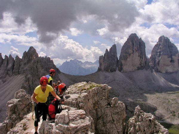 Klettersteig Toblinger Knoten mit Blick zu den 3 Zinnen