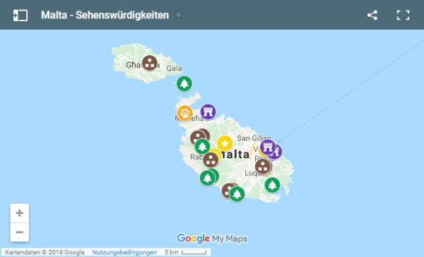 Übersichtskarte Sehenswürdigkeiten auf Malta