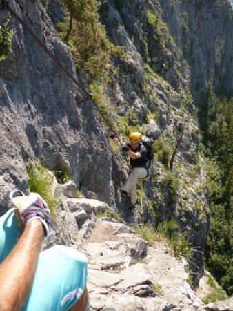 Wenig künstliche Tritte am Kaiser Max Klettersteig