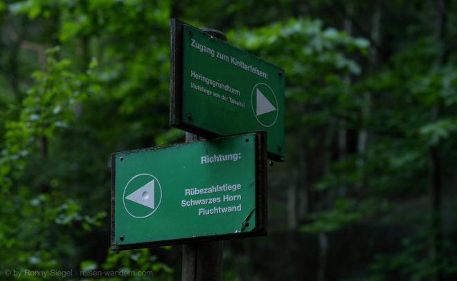 Foto: Wegweiser zur Rübezahlstiege
