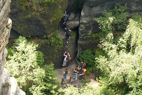 Zwillingsstiege Sächsische Schweiz - Einstieg der Stiege