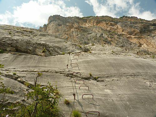 Letzten Meter kurz vor dem Gipfelbuch des Klettersteig Che Guevara