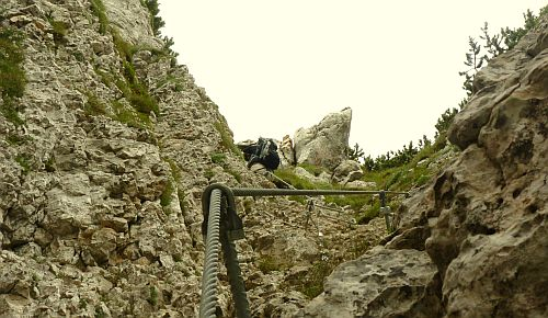 Oberer Ausstieg aus dem Giulio Segata mit künstlichen Tritten