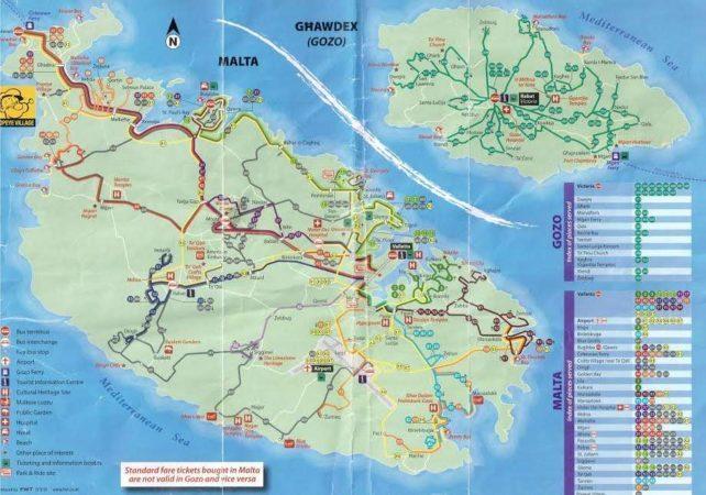 Liniennetz der Busse auf Malta