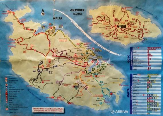 Flyer Busverbindungen Malta Liniennetz