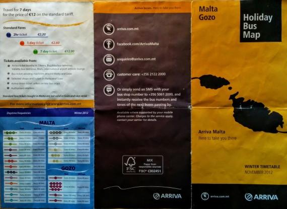 Flyer Busverbindungen Malta Preise und Abfahrtzeiten