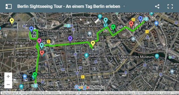 Google Maps Karte Berlin Sightseeing Tour