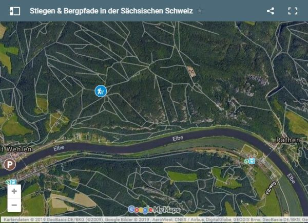 Google Maps Karte Elbsandsteingebirge Bergpfad Wehlen R