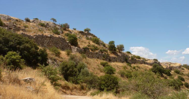 Einfache Aussenmauern von Mykene