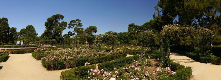Panorama des Rosengarten im Retiro Park