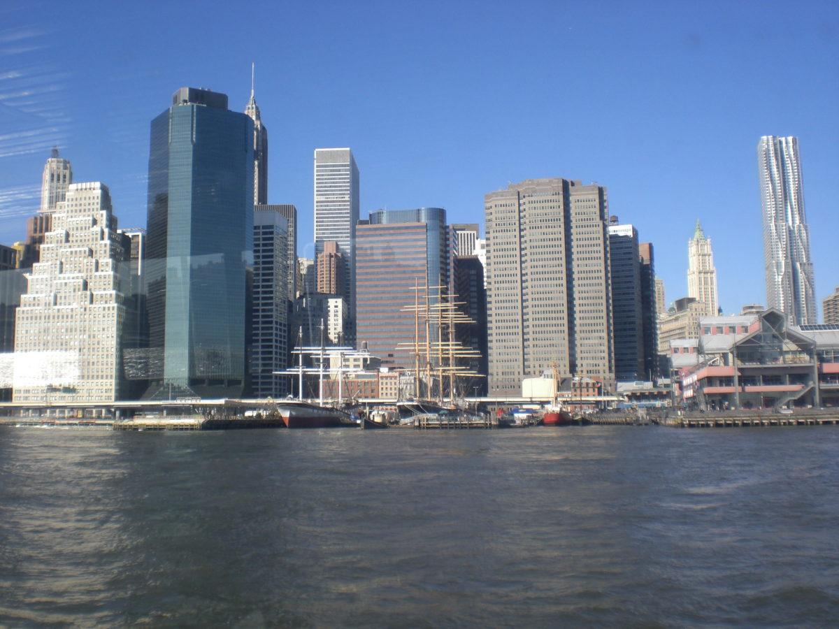 Die Skyline besteht aus vielen Hochhäusern, die vom Wasser aus gut sichtbar sind.