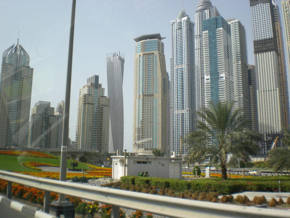 Viele Wolkenkratzer hinter einem bunt beblumten Park.