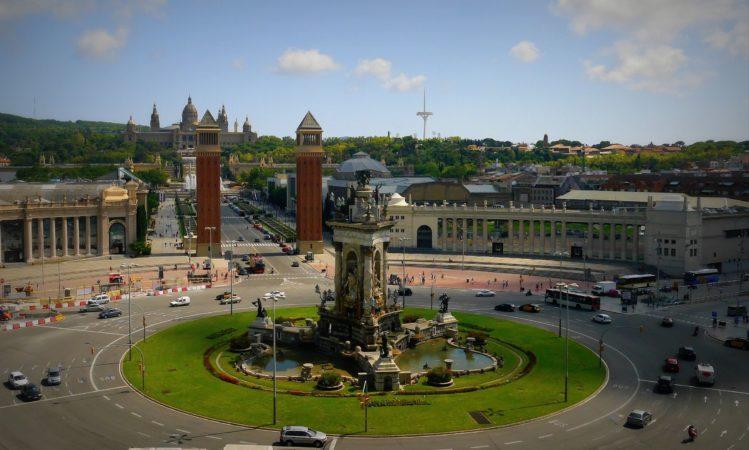 Blick auf Font Màgica de Montjuïc von der Arenas de Barcelona