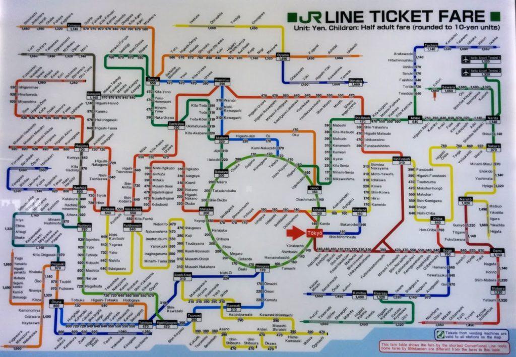 JR Line Übersichtsplan von Tokio