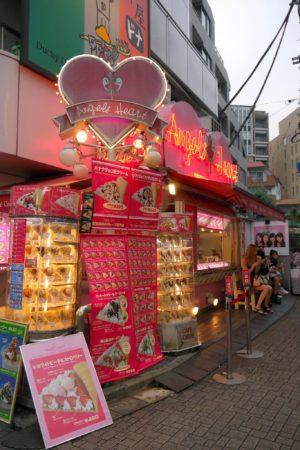 Süßwaren Fastfoodstore Angels Heart auf der Takeshita Dori in Shibuya in Tokio