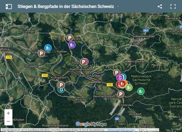 Übersichtskarte mit Stiegen und Bergpfaden in der Sächsischen Schweiz