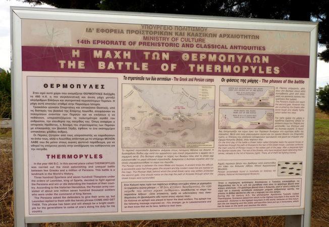 Informationstafel von der Schlacht bei den Thermopylen