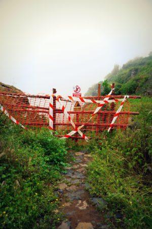 Abgesperrter Abschnitt des zweiten Abschnitts im Barranco de Ruiz