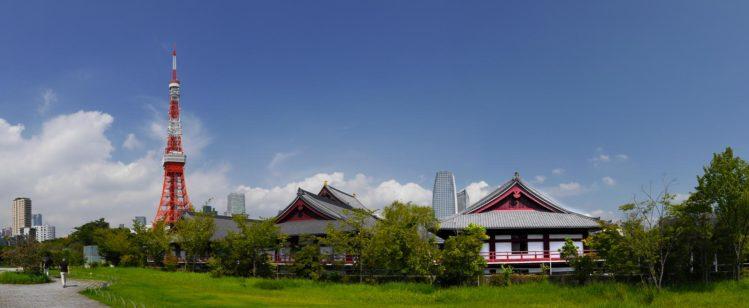Panorama Zōjō-ji Tempel und Tokyo Tower