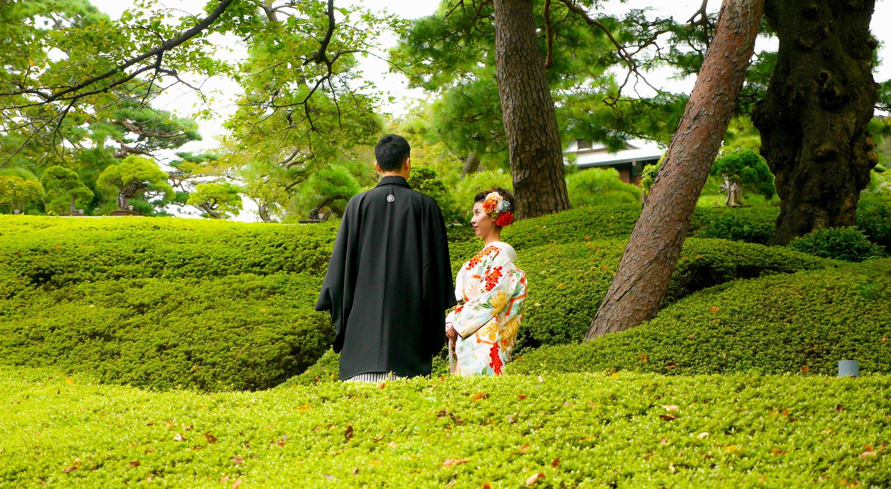 Brautpaar bei einer japanischen Hochzeit
