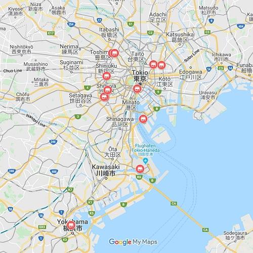 Karte mit Hello Kitty Stores in Tokio