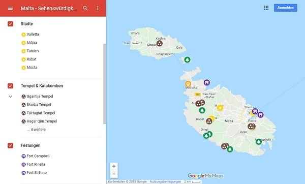 Google Maps Karte Malta mit Sehenswürdigkeiten