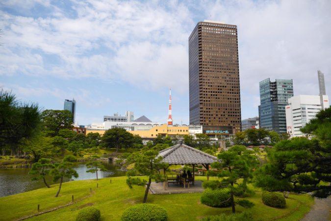 WTC in Tokio hinter Kyu-Shiba-rokyu Garten