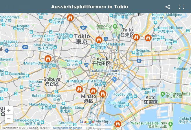 Google Maps Karte Aussichtsplattformen in Tokio