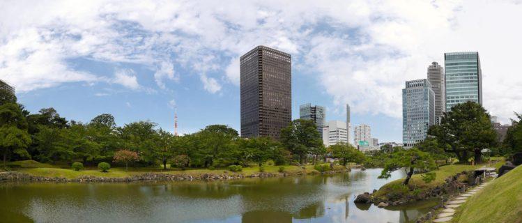 Panorama japanischer Garten - Kyu-Shiba-rikyu Garten