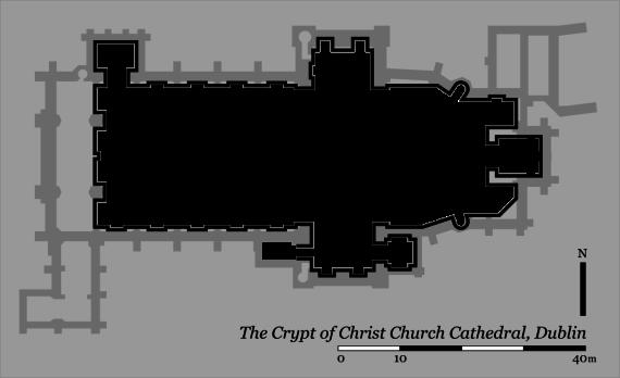 Lageplan der Krypta in der Christ Church Cathedral in Dublin-krypta