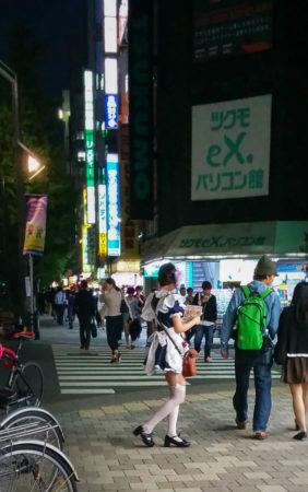 Maid bei Nacht auf Straße in Akihabara