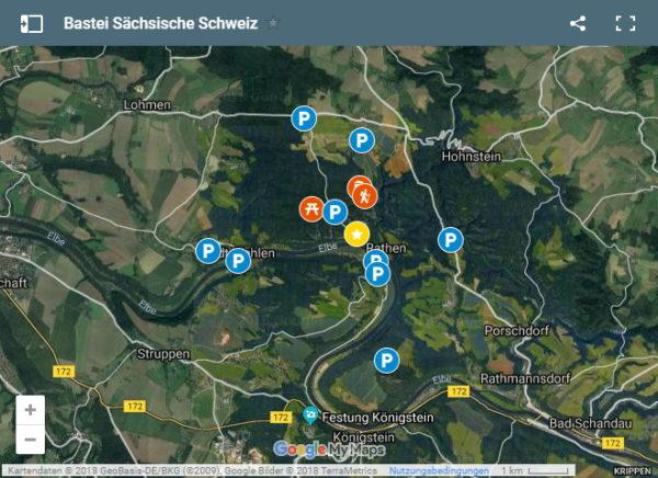 Karte mit Parkplätzen bei der Bastei in der Sächsischen Schweiz bei Dresden