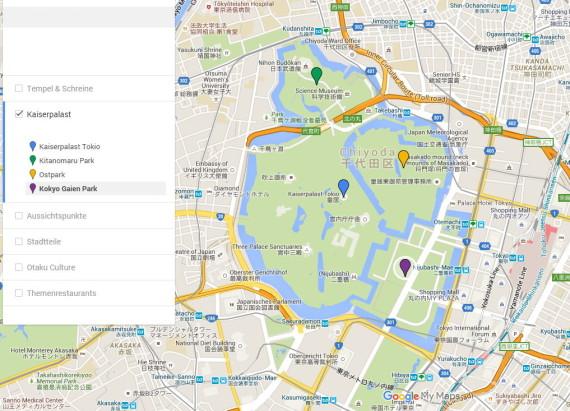 Hier findet man die jeweiligen Gebiete rund um den Kaiserpalast. Hier findest du eine größere Karte von Tokio.