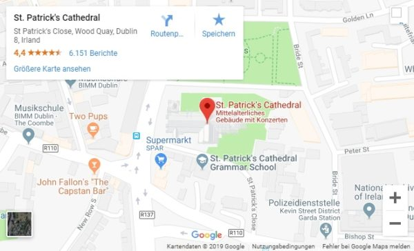 Google Maps Karte St. Patrick's Cathedral