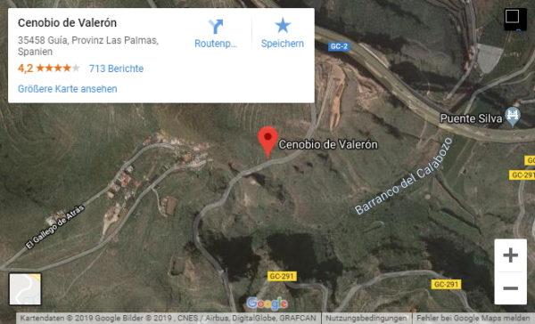 Google Maps Karte von Cenobio de Valerón auf Gran Canaria