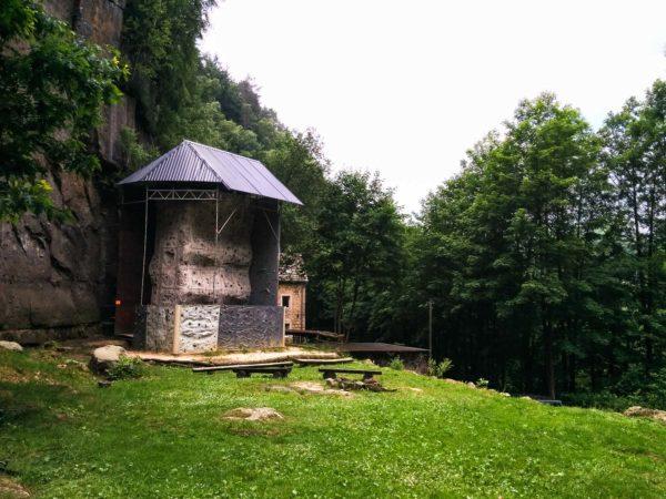 Kletterwand vor Klettersteig Ochelbaude