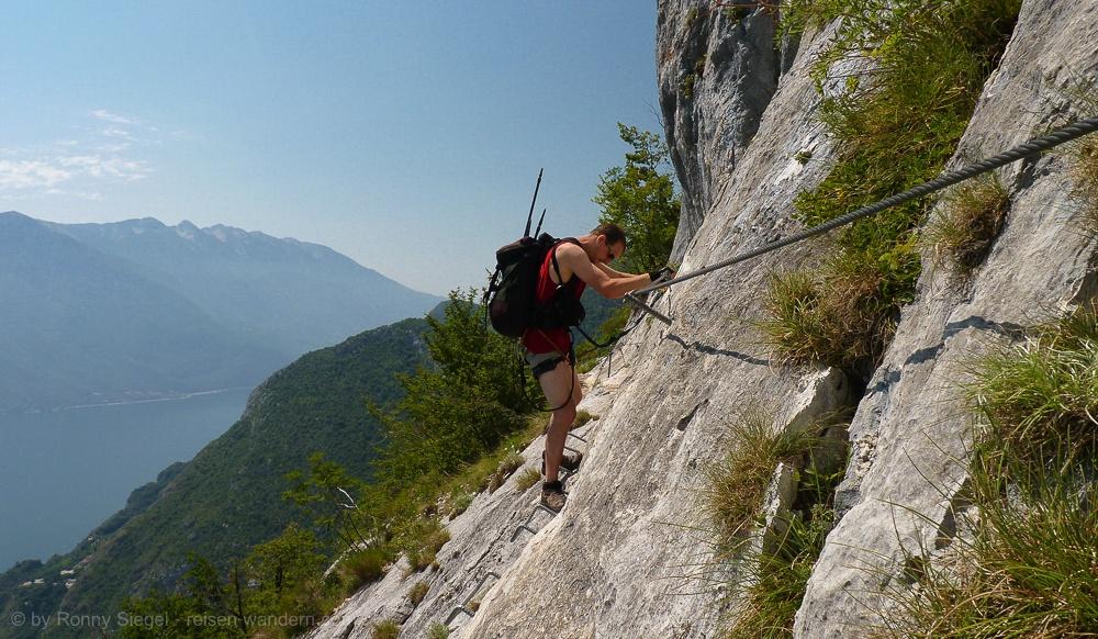 Klettersteig Gardasee : Klettersteig mario foletti beim cima capi am gardasee