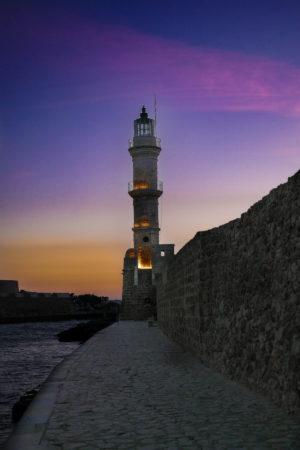 Venezianischer Leuchtturm am Abend