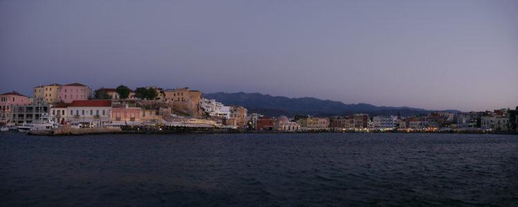 Panorama Hafen von Chania am Abend