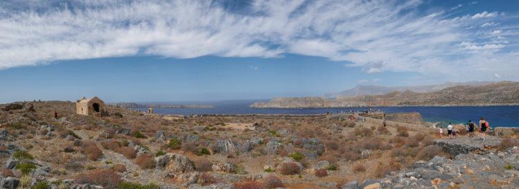 Panorama von Festung Gramvousa mit Blick auf Meer
