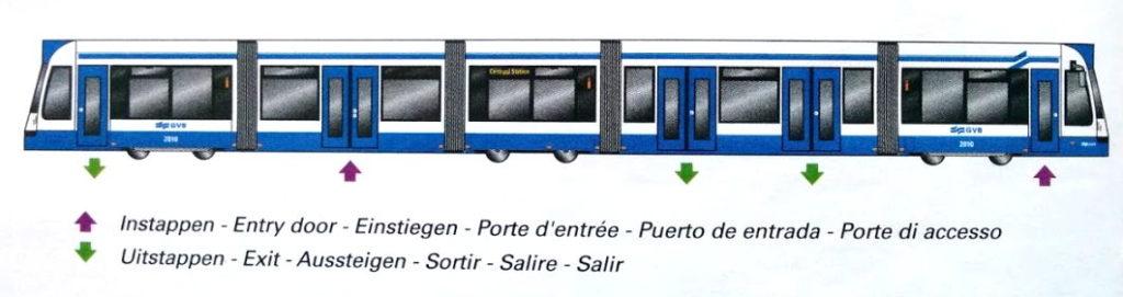 Ein- und Aussteigbereiche Straßenbahn Amsterdam