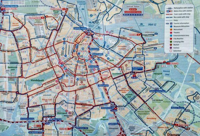 Linien- und Streckenplan von Amsterdam Zentrum
