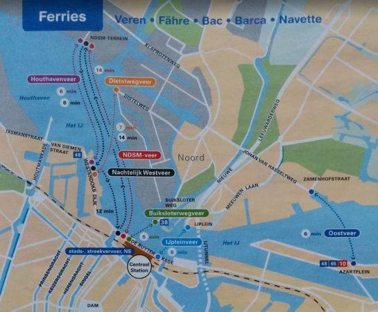 Linienplan der Fähren in Amsterdam