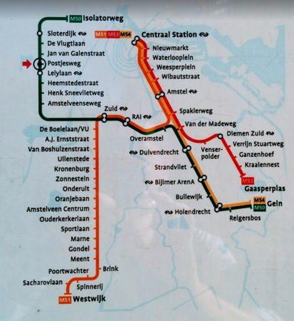 Linienplan der Metro in Amsterdam