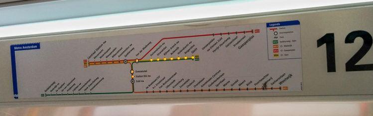 Stationsplan in einer Metro in Amsterdam