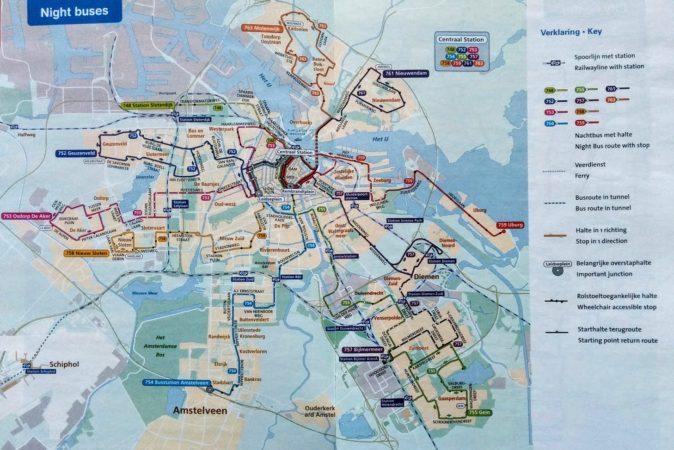 Übersichtsplan der Nachtlinien in Amsterdam
