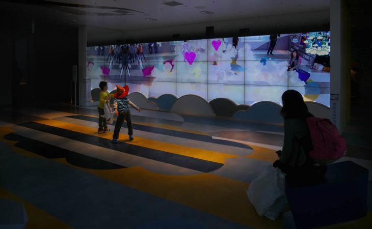 Kinder vor großer Leinwand die tanzen