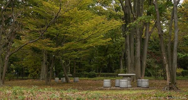 Foto: Sitzgruppen im Kitanomaru Park beim Kaiserpalast