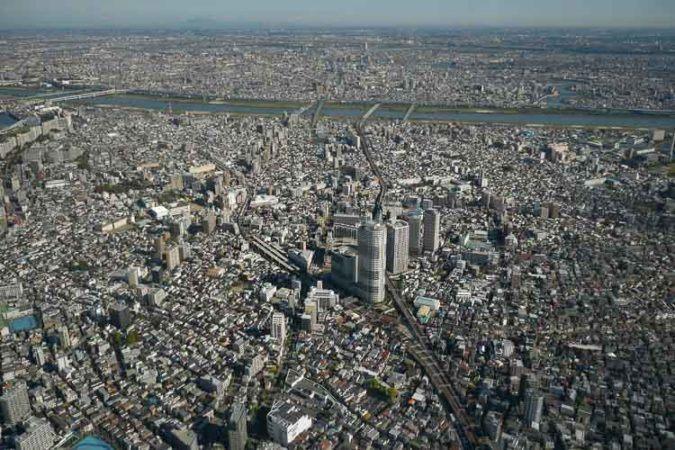 Blick auf Norden von Tokio vom Skytree