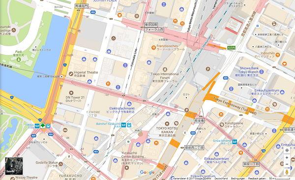 Google Maps Karte von Tokio als Ausschnitt